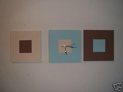 Orologi Da Parete In Tela : Arte moderna dipinto a mano tela panna marrone duckegg blu