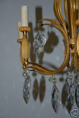 An Antique Heavy French Bronze / Crystal 6 Chandelier 7