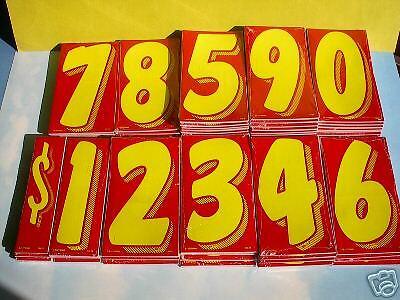 """$ CAR DEALER AUCTION 56 dozen 7.5"""" VINYL WINDSHIELD NUMBER STICKERS Red/Yellow"""