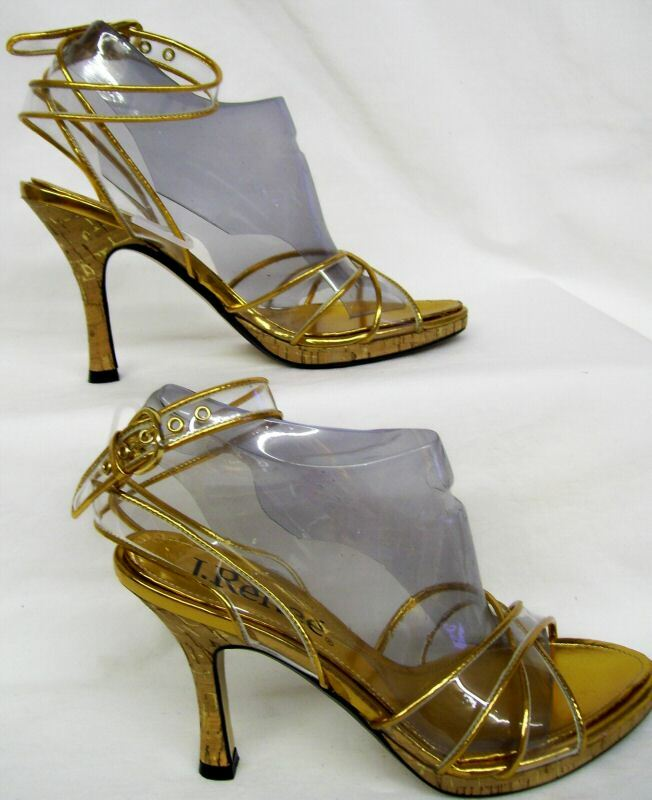Renee Womens Clear Gold 3 3/4 Heels Ankle Strap Fashion Sandal