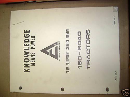 ALLIS CHALMERS 160 6040 TRACTORS SERVICE MANUAL BOOK