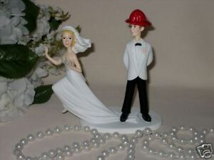firefighter wedding cake toppers funny fireman firefighter groom humorous wedding runaway 14267